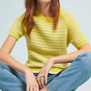 Anthropologie Moth Beach Town Yellow Knit Top